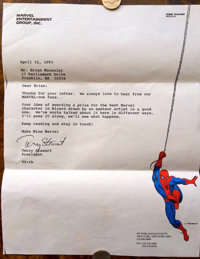 1—April 12, 1993 letter from Terry Stewart, pres. Marvel Comics.