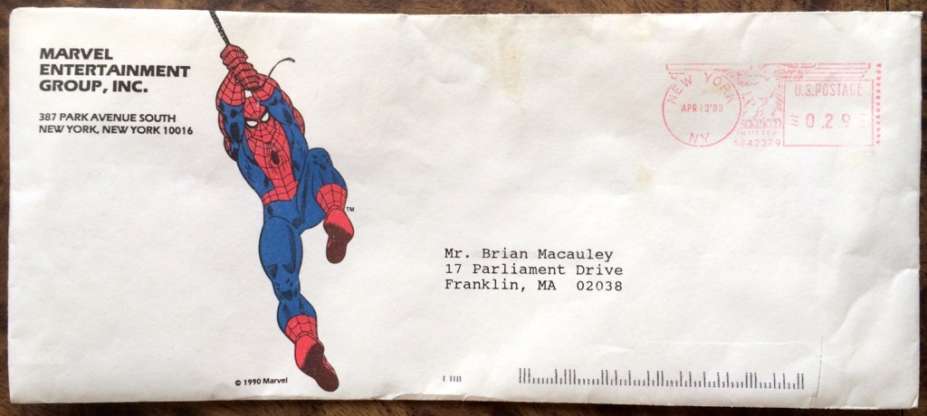 Marvel Comics envelope, April 1993